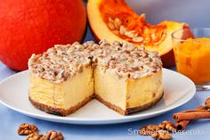 Pumpkin cheesecake with walnut topping