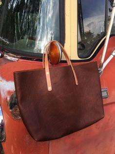 Handmade Leather Tote Bag, Book Bag, Shoulder Bag, Copper Hardware, Handstitched, Rustic, Handmade Leather, Leather Working, Hand Stitching, Copper, Hardware, Shoulder Bag, Rustic, Tote Bag, Book