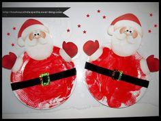 - Aujourd'hui réalisation du père noel a partir d'une assiette en carton petit modèle, peinture rouge sur les assiettes, collage d'une ceinture réalisé avec une bande de papier noir et d'une boucle a partir d'un papier cartonné doré, reste a coller le...