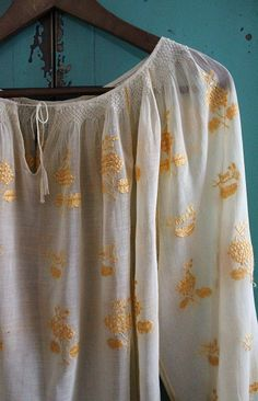 vintage ivory white blouse with pale yellow silk embroidery