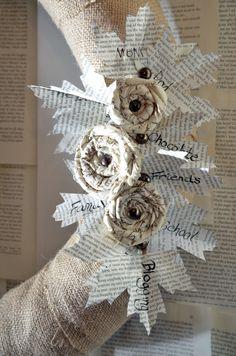 DIY autumn fabric flowers + wreath