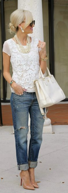 Lace detail top and denim combo style