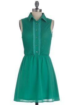 Fielding Questions Dress - Short, Green, Solid, Trim, Shirt Dress, Sleeveless, Sheer, Button Down, Collared