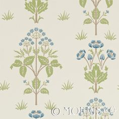 Morris & Co Wallpaper Meadow Sweet Cornflower/Leaf