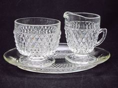 Indiana Glass Diamond Point Creamer Sugar and Under Plate