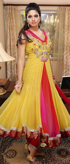 #Yellow Faux Georgette #Churidar Kameez @ $ 200.32