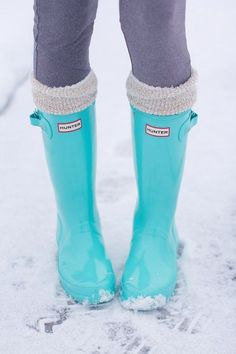 Tiffany Blue Hunter boots! ($150) They would create a nice pop of color to an otherwise gloomy-looking rainy day outfit. They were part of the Spring 2013 collection, so hopefully a similar pair comes out again!