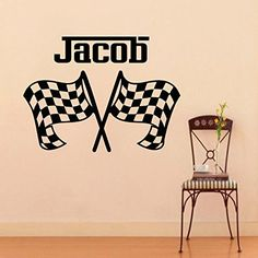 Personalized Name Decal Checkered Flag Racing Boy Nursery Room Wall Decal Vinyl Sticker Wall Decor Home Interior Design Art Mural: Amazon.co.uk: Kitchen & Home