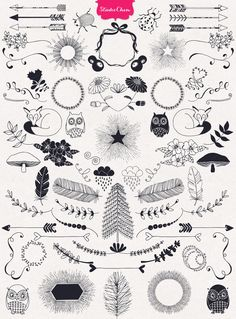 A HUGE Hand drawn Designer's Element Kit from Nature - includes 400 beautiful hand drawn elements, including fleurons, curls, hearts, wreaths, arrows, swirls, laurels, frames, borders,