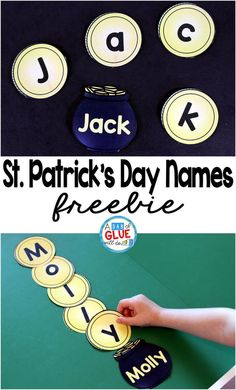 Patrick's Day Names – Name Building Practice Printable is a fun, hands-on activity that will have your students building their name in no time. This free, editable printable is perfect for toddlers, preschool, and kindergarten students. by nichole Preschool Names, Name Activities, Preschool Lessons, Hands On Activities, Preschool Ideas, Preschool Crafts, Kindergarten Names, Preschool Letters, Preschool Books