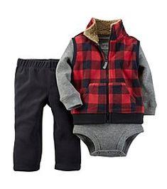 Carter's® Baby Boys' 3-24M Three-Piece Plaid Vest Set