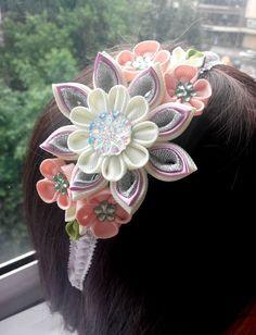 Kanzashi headband/Fabric flower hairband/Flower head band/Head