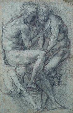 Pontormo, Étude de deux hommes nus se regardant dans un miroir, vers 1520, Pierre noire (?) et craie blanche, sur papier bleu, 422 x 272 mm. © Städel Museum, Frankfurt am Main