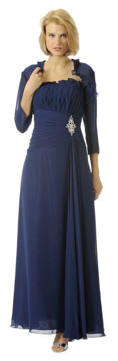 Long Navy Blue Mother of Bride Dress Chiffon Long Sleeve Jacket $148.99