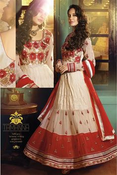 Lisa Haydon Cream, Red Georgette Party wear Anarkali Suit