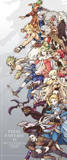 Final Fantasy VI - all playable characters. Final Fantasy Vi, Final Fantasy Artwork, Character Art, Character Design, Art Anime, Video Game Art, Cultura Pop, Illustrations, Manga