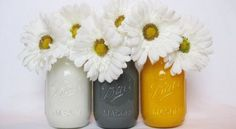 Painted Mason Jars - just maybe not these flowers! Colored Mason Jars, Painted Mason Jars, Wedding Centerpieces, Wedding Decorations, Partying Hard, Our Wedding, Spring Wedding, Wedding Things, Wedding Stuff