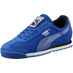 Puma Roma Deep Summer Women's Sneakers featuring polyvore, women's fashion, shoes, sneakers, puma trainers, woven shoes, cushioned shoes, lacing sneakers and summer shoes Blue Puma Shoes, Puma Shoes Women, Pumas Shoes, Puma Sneakers, Best Sneakers, Casual Sneakers, Shoes Sneakers, Clarks Shoes Mens, Baskets