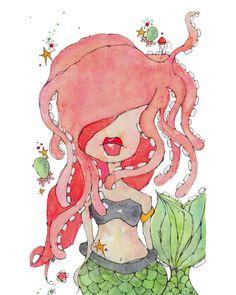 Mermaid print by Kelly Barton