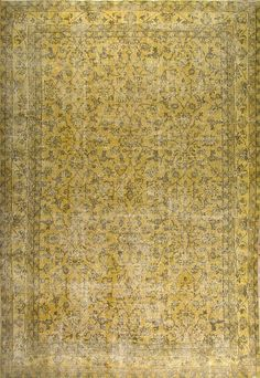 7.5x10.6 Ft  Yellow Color Vintage Turkish Rug.     WOOL Handmade Carpet for Modern Office & Home decor.  CUSTOM OPTIONS Available      K287