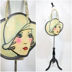1960s 60s Mod Biba inspired Rare Leather Ladies Girl face Handbag ///// painted Carnaby Street // Swinging London