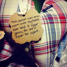 A Hospice pocket pillow, made from a patient's favorite shirt, as a little something for the surviving family -- spouse, child or grandchild -- to remind them that they are never really apart in each other's hearts.    #hospicelove