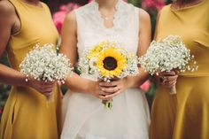 The result: Real wedding bride and bridesmaid. Sunflowers, babys breath, bouquets. Photographer: Erica Gilbertson
