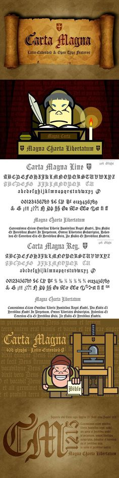 Two Gothic-style calligraphic fonts with medieval inspiration, handwritten fonts dedicated to the first Magna Carta precursor to modern political constitutions. Carta Magna, Johannes Gutenberg, Gothic Fonts, Types Of Lettering, Handwritten Fonts, Black Letter, Cool Fonts, Glyphs, Lower Case Letters