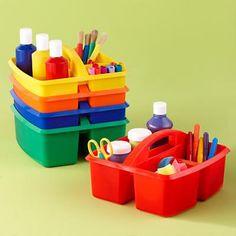 art caddy for toddler crafts Kids Art Storage, Art Supplies Storage, Arts And Crafts Storage, Craft Storage, Craft Supplies, Storage Caddy, Storage Ideas, Storage Crates, Plastic Storage