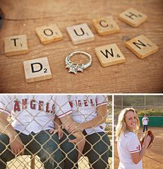 They are in love with sports, and wanted to make sure it was incorporated in their love story of photos.