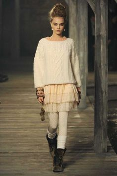 Chanel Pre-Fall 2013    sweater + lace skirt + tights + socks + boots + neutral palette