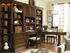 Hooker Furniture Cherry Creek Wall Unit with Partner Desk - Baer's Furniture - L-Shape Desk