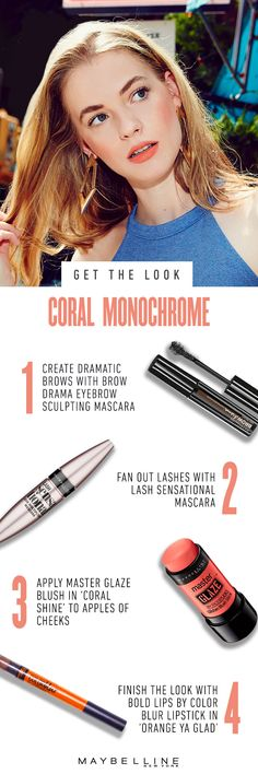 Go monochromatic with your summer makeup look. Flaunt this kickass makeup trend in orange during your next sunny day romp through the city with Maybelline Color Blur lips and coral cheeks.