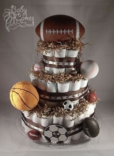All Sports Diaper Cake - Perfect for the baby boy shower.  #Vintage #Fashion #2014 #Spring