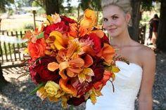 Wedding, Flowers, Bouquet, Red, Orange, Brown, Yellow, Bridal