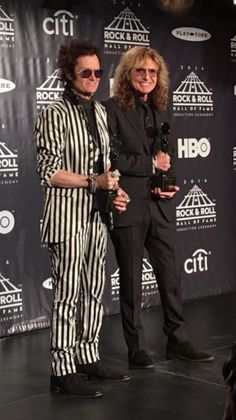 Hughes & Coverdale with our #RockHall2016 awards last night ~ styled by John Varvatos. Induction Ceremony airs on HBO, Saturday April 30th, 2016.