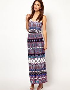 Image 4 of Warehouse Masai Print Maxi Dress