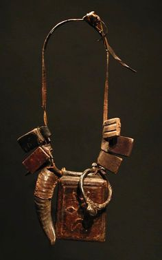 West Africa   Talisman necklace from the Fulani people   Leather and metal