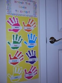kids must slap hands and read high freq words before they can enter the classroom... change words each week