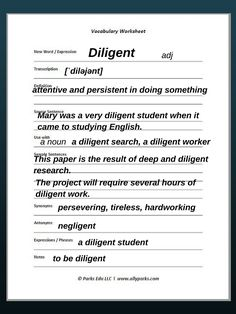 Download free Vocabulary Worksheet, http://www.allyparks.com/english-blog/vocabulary-worksheets-diligent Learn English vocabulary, learn English words, vocabulary strategies, English worksheets, vocabulary worksheets, free printable vocabulary worksheets, Vocabulary, esl, efl, English, Inglês, inglés, английский язык, ingles, английские,