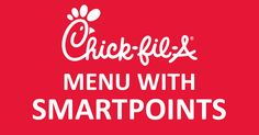 | Chick-Fil-A's Menu : Weight Watchers SmartPoints Guide (10SP or Less) Weight Watchers Restaurant Points, Weight Watchers Smart Points, Skinny Recipes, Ww Recipes, Skinny Meals, Yogurt Recipes, Healthy Recipes, Healthy Sweets