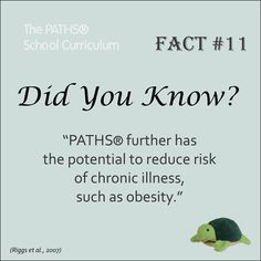 """""""PATHS® further has the potential to reduce risk of chronic illness, such as obesity."""" Social and emotional learning"""
