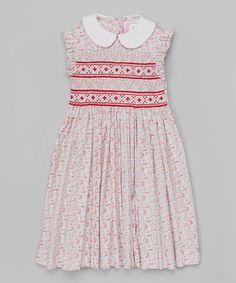 Red Floral Angel Sleeve Smocked Dress - Infant, Toddler & Girls #zulily #zulilyfinds