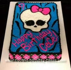 Homemade Monster High Cake: This homemade Monster High cake was made for my friend's daughter's 9th birthday. She is very allergic to eggs, so they gave me a mix that made a very