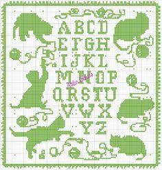 Poezen met alfabet.
