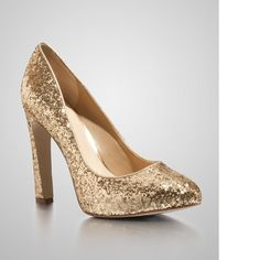 New Guess Women's Shaney Gold High-heel Closed-toe Allover Glitter Pumps  #GUESS #PumpsClassics