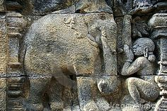 Borobudur temple ancient wall art elephant