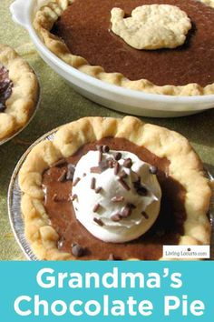 My Grandma's Chocolate Pie recipe. With only 5 ingredients, this rich chocolate pie recipe is a quick and easy dessert. Perfect for any chocolate lover! Grandma's Chocolate Pie, Chocolate Pie Recipes, Fudge Recipes, Cookie Recipes, Dessert Recipes, Chocolate Crafts, Party Recipes, Winter Desserts, Great Desserts