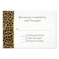 Fashionable Wild Jaguar Pattern Wedding RSVP Card