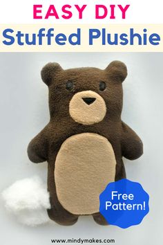 Homemade Stuffed Animals, Sewing Stuffed Animals, Stuffed Animal Patterns, Stuffed Animal Diy, Diy Plush Toys, Diy Handmade Toys, Diy Teddy Bear, Teddy Bear Sewing Pattern, Sewing Projects For Kids